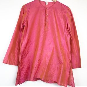 DOSA 100% Crinkled Silk Henley Tunic Shirt